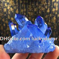 1 pz casuale dimensione freeform blu titanio rivestito quarzo cluster altare pietra wiccan cristallo punto esemplare reiki energia meditazione roccia chakra