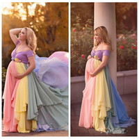 2021 Encolure coloré en mousseline de soie des robes de bal femme enceinte Robes de soirée manches à manches courtes fleurs Parti Sash Robe robes de soirée