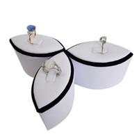 الأزياء 3 قطعة / الوحدة حلقة عرض المجوهرات برج المحمولة زهرة شكل حلقة حامل عرض أبيض أسود حلقة التخزين المنظم معرض حامل