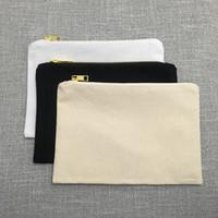7x10 Inç Boş Tuval Fermuar Çanta% 100% Pamuk seyahat makyaj organizatör serigrafi için büyük kozmetik çantası makyaj tutucu çanta (5 renkler)