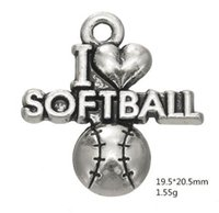 J'aime Softball Sporty One Side Word Charme Autres bijoux personnalisés