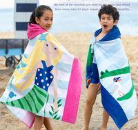 Beach Cover Ups Baby Мягкий мультфильм с капюшоном полотенцем 100% хлопок дети плавать пляжную ванну носить детский халат высокого качества