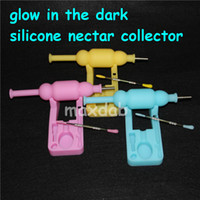 Best cheap price glow silicone nectar collector kits with titanium domeless nail dabber oil rig glass water bong silicone nector collector