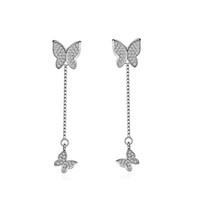 ED340 Frauen Modeschmuck Schmetterling Stil Ohrringe Handgemachte Strass Tropfen Kristall Baumeln Lange Ohrringe für Frauen Mädchen