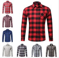 Hot sale Mens Long Sleeved Flannel Casual Plaid Shirt Men Ch...