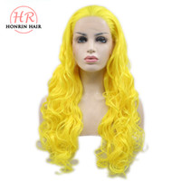 Honrin Hair Long Body Wave Yellow Color Synthetic Lace Front...