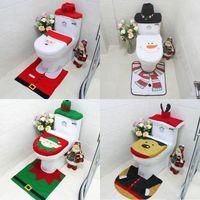 Christmas Santa Toilettensitzabdeckung Anti-Rutsch-Matte Bad Toliet Teppich Weihnachtsdekoration für Haus Neujahr Mat