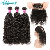 7A Brazilian Hair Water Wave 3 Bundles With 360 Lace Frontal...