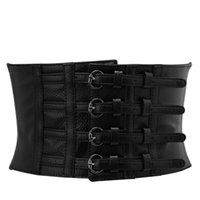 Retro Lady Waist Shape Corset Wide Elastic Faux Leather Belt...