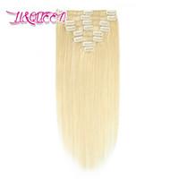 Brazilian Clip in Haarverlängerungen 8Pcs / set Glattes Haar 613 # Blonde 100g Jungfrau-Menschenhaar 10-28 Zoll 613 #