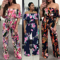 Off Shoulder Floral Print Playsuit Long Rompers Wide Leg Jum...