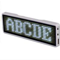 Etiquette de nom LED Etiquette coupe du monde Rechargeable 44x11 Points Rouge Couleur Message de défilement LED Badge nominatif