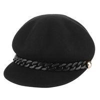 새로운 트렌디 리벳 체인 베레모 모자 여성 모자 모자 가을 겨울 모자 양모 팔각 모자 여성 아티스트 Painter Hat Boina