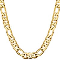 Classic Figaro Cuban Link Chain Necklace 18K Real Gold Fille...
