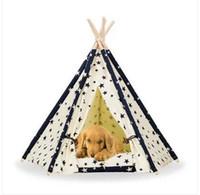 продажи!!! 2019 Оптовая Бесплатная доставка Пэт вигвам палатка собака кошка игрушка дом портативный моющиеся Pet кровать Звезда шаблон