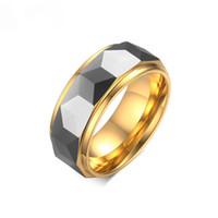 100% tungsten men anel de casamento masculino jóias 8 MM largura da cor do ouro losango corte tungsten anel de noivado para homens