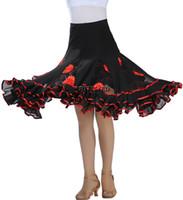 Симпатичные цветочные бальный танец летать юбка танцевальная одежда для производительности квадратная линия Латинской бальный гладкий танец носить юбки репетиция театр