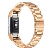4 цвета роскошный ремешок для часов из нержавеющей стали для Fitbit Charge 2 Смарт наручные часы Замена браслет ремешок ремешок для часов с адаптером