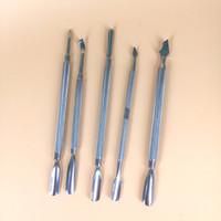 I più venduti SS color cera secca erba vaproizer in acciaio inox Carving Sputula Dual Tip tamponare strumento per tabacco cera atomizzatore penna vape