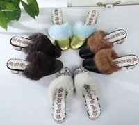 AAAAA 502872 Leather Slide with Fur Women Slippers, Leather S...