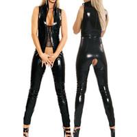 2016 Noir Sans Manches Combinaison Ouvert Entrejambe Costumes Spandex Érotique Fétiche Catsuit Latex Faux PVC Cuir Combinaison