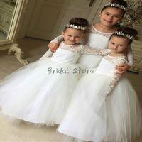 Branco princesa vestido de baile vestido de casamento do país menina vestidos de manga comprida rendas completa manga crianças pageant vestidos baratos presente de aniversário praia rústica
