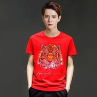 Модный бренд головы тигра дизайн тенниска мужчины роскошный алмаз Tshirt мужчин короткий рукав футболки бренда хлопка топы и тройники