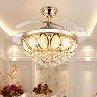 Hot LED Teto Invisível Luzes Do Ventilador Controle Remoto Temporização Luz Branca Morna Lâmpada Pingente de Cristal De Controle Remoto