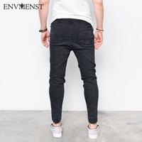Harem Jeans de mode moyenne Envmenst Men délavé pieds Shinny Denim Pants Hip Hop Sportswear taille élastique Pantalon de jogging