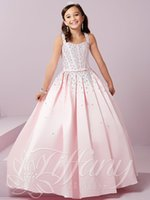 Lovely Pink Satin Straps Beads Flower Girls 'Dresses Dress Formal Dresses Vestidos de fiesta Custom SZ 2-12 DF703072