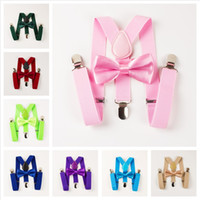 Kids Suspenders Bow Tie Matching Suits Unisex Boys Girls Bow...