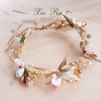 ragazze a mano fiore nuziale corona perle colorate strass principessa corona boutique bambini archi del nastro di nozze accessori per capelli YA0329