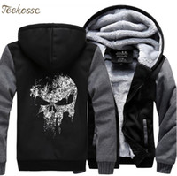 The Skull Sweatshirts Men 2018 New Winter Fleece Stampa Felpa con cappuccio pesante Hoddie Streetwear Hip Hop Uomo