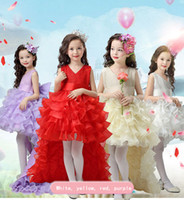 Pure Flower Girl Lace Bow Dress Trailing Detachable Princess...