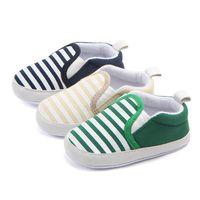 Мода Claasic Новорожденных малышей Мальчики Девочки обувь Navy Полоски Soft Sole Противоскользящая первые ходунки Холст детские ботинки малышей 0-18M