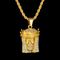 İsa Başkanı Kolye Altın Gümüş Renk Çinko Alaşım Bling Taklidi Hip Hop Kolye Zinciri erkek Takı Hediye