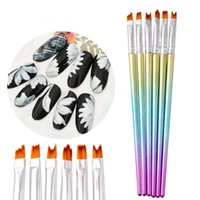 6 PCS Set Mermaid Nail Brushes Set Gradient Color UV Gel Flower Drawing Pen Manicure Nail Art Tool
