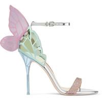 2018 Nuova Sophia Webster Butterfly Ali Donne Tacchi alti Bowtie Summer Scarpe Sandali Donna Open Toe Strada per caviglia Bowknot Party Shoes Pompe
