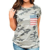 Women' s Patriotic American Flag Tops Short Sleeve T- Shi...