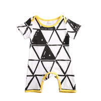 Newborn baby boys girls geometric cotton rompers short sleev...