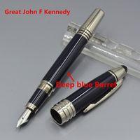 많은 스타일 - Great John Kennedy 진한 파란색 금속 롤러볼 펜 볼펜 분수 펜 JFK 일련 번호가있는 분수 펜 사무실 학교 용품