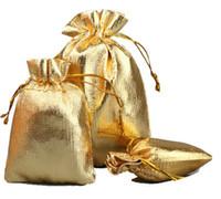 100 قطع مطلية بالذهب الشاش الحرير الرباط حقائب 4 الأحجام مجوهرات تغليف الحقائب الزفاف ، أكياس هدية لطيفة مصنع
