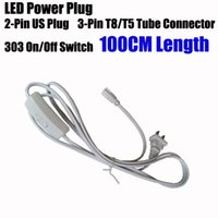 3 Pin LED Tube Cable connector Wire US Plug ON OFF Switch po...