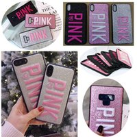 Stylish Pink Glitter Embroidery Phone Case For iPhone XS Max...