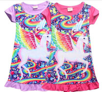 Unicorn Girls Dress New 2018 Summer Rainbow Strar Printed Sh...