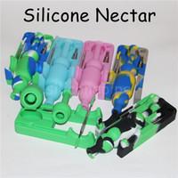 Silicone Nectar Collector avec 10 mm Conseils titane et DABBER outils de cire Container silicone Récupérateur Nector Collector Kit pour fumeurs