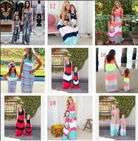 Anne Ve Kızı Elbiseler Yaz Donanma Stil Çizgili Uzun Elbise Moda Anne Ve Bebek Giyim Kolsuz Yelek Dikiş Elbise OVer 20style