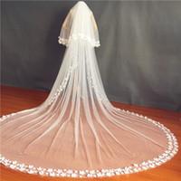 2020 Blush Face Свадебные вулы Два слоя Кружевные аппликации Свадебные аксессуары для волос на заказ 3D цветы Bridal вуаль