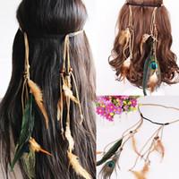Gypsy India Capelli Ornamento Piuma Colore Colore Faccini Nastro Boemia National Style Monili gioielli all'ingrosso