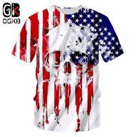 OGKB Yeni Moda Giyim Erkekler Komik Serin 3D Baskı Amerikan Bayrağı Kafatası T-Shirt Harajuku Tops Tees Artı Boyutu Rahat Tshirt Unisex